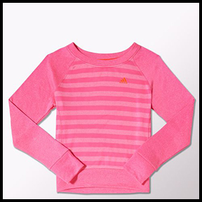 ADIDAS ULTIMATE FLEECE CREW SWEATSHIRT  There is no cold too cold – so take to the streets and run outside in this pink sweatshirt. Thumb-holes keep it in place, and the relaxed fit will be comfy over layers.