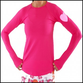 "RUNNING SKIRTS ""RUN LOVE"" LONG SLEEVE PERFORMANCE TOP    I am a girl who wears her heart on her sleeve, so when I came across this long sleeve performance top – what better way to show who I am. And the heart is reflective, so it is great for when it gets dark earlier."