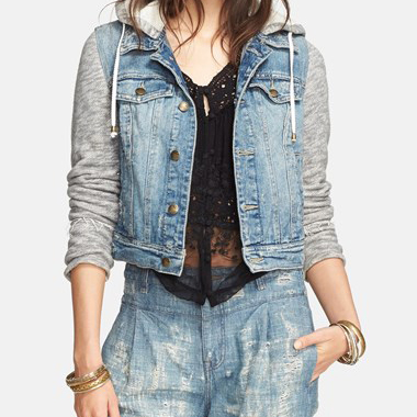 Free People Jean Jacket    This denim jacket from Free People has a sweatshirt detail for an athletic edge. I love the Indie Wash.
