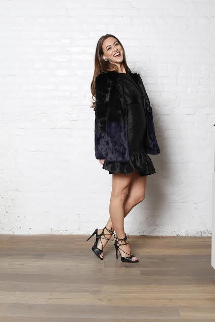 Cynthia Rowley Fit and Flounce Dress  Shop    Jocelyn Rabbit color block coat  Shop    Schutz Oriana Heel  Shop    Chanel Vintage turn lock earrings  Only at WiNk