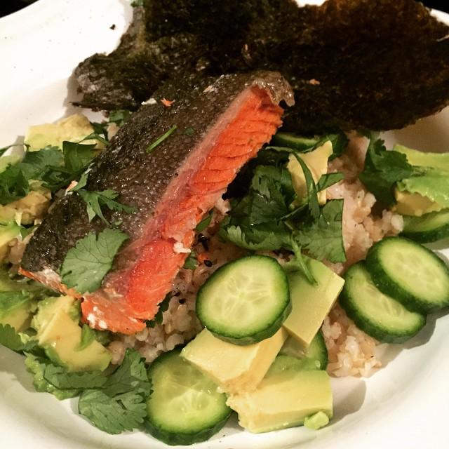 Dinner these days: Scottish salmon, sprouted brown rice, gomasio, avocado, English cucumbers, cilantro,toasted nori