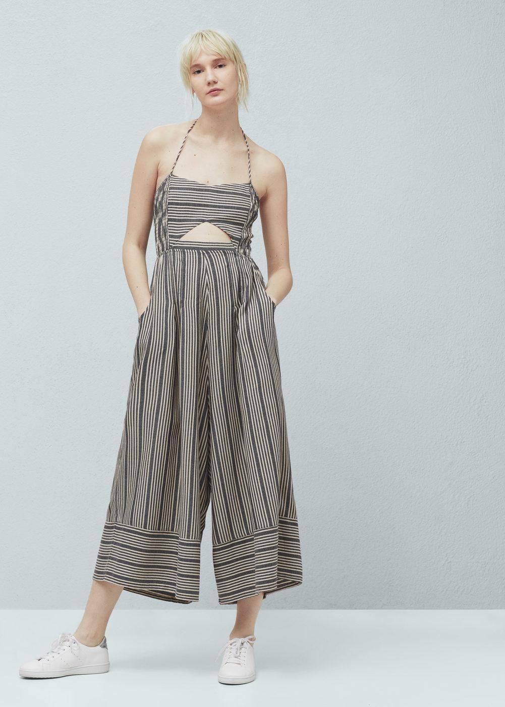 Mango Striped Cotton Jumpsuit, $69