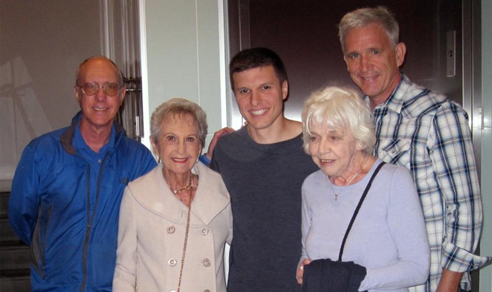 Gil Zeimer, Pearl Zeimer (age 97), Jared Scheib, Madeleine Hewitt (age 81), Duff Reiter.