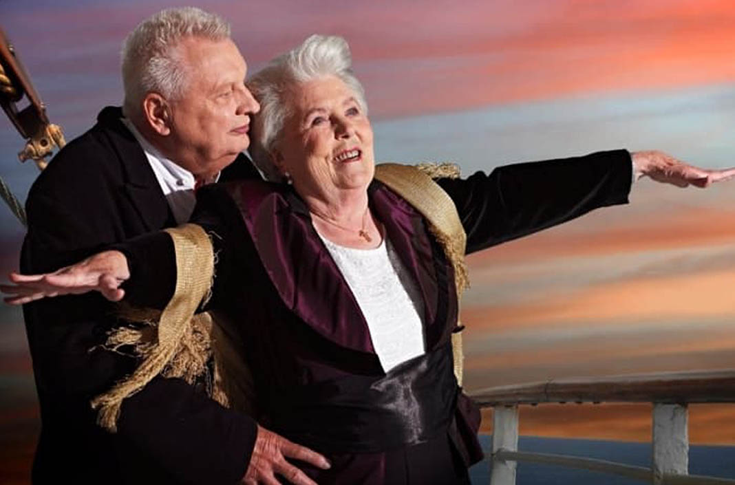 "April  Erna Rütt, 86, & Alfred Kelbch, 81, as Jack and Rose, ""Titanic""."