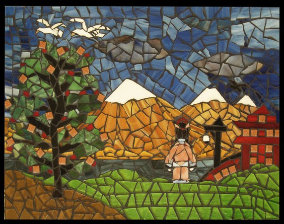 One of Juan's intricate landscape scene mosaic plaques.