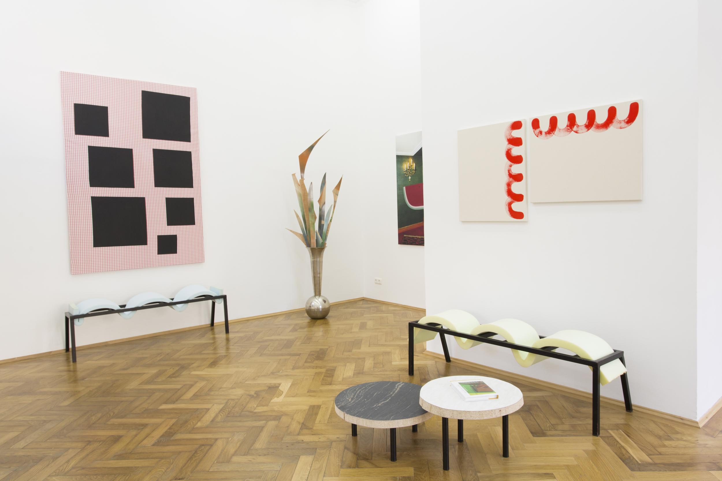 Elvire Bonduelle - waiting room #4 - installation view (Nicolas Chardon, Émile Vappereau, Amedeo Polazzo, Elvire Bonduelle)