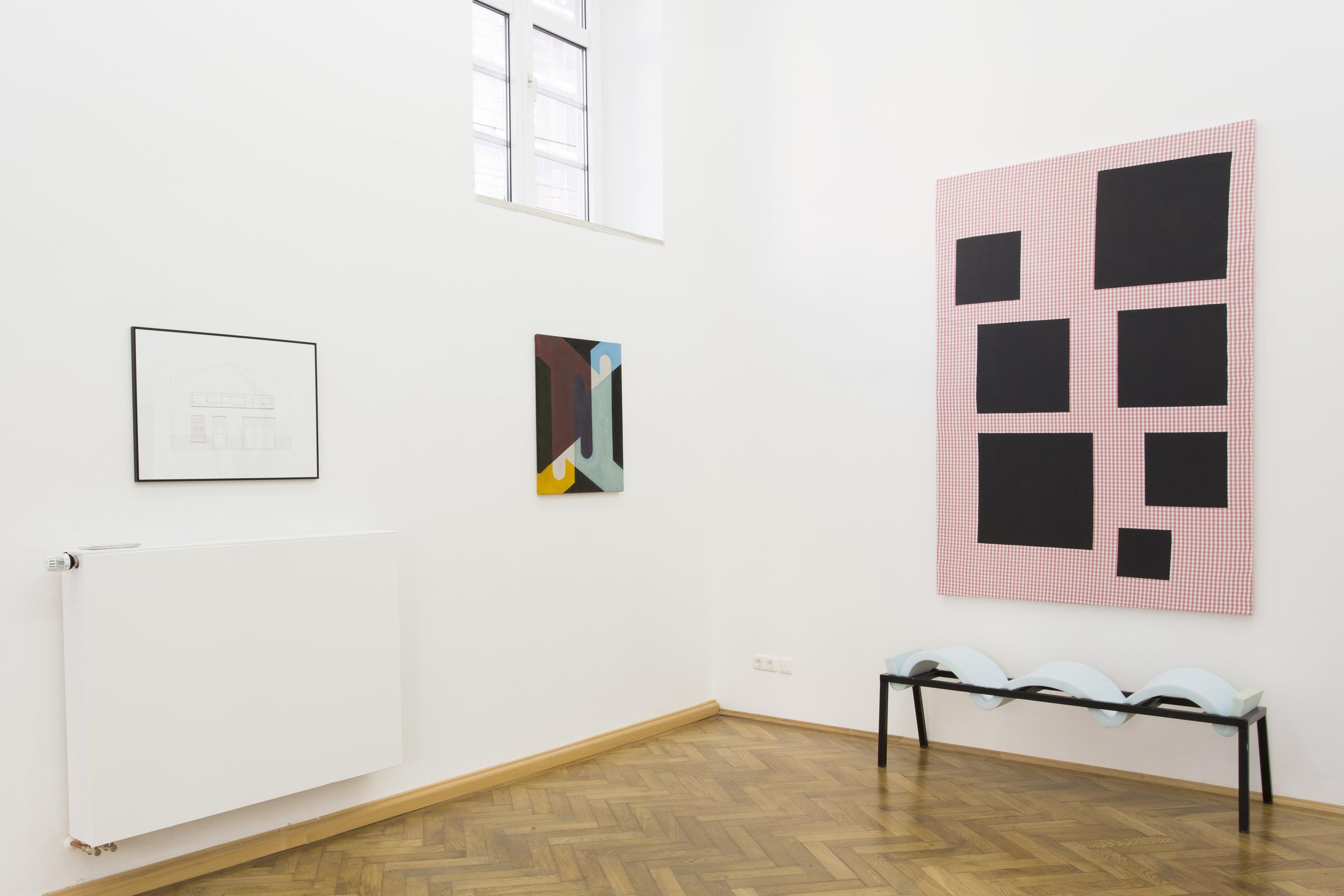 Elvire Bonduelle - waiting room #4 - installation view (Elvire Bonduelle, Émile Vappereau, Nicholas Chardon)