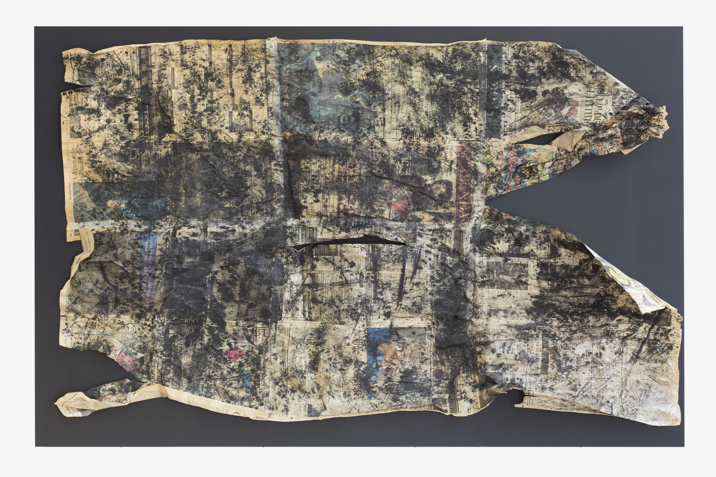 Anna McCarthy - Filthy Rich Earth - 2015 - frottage - newsprint on MDF - 110 x 170 cm