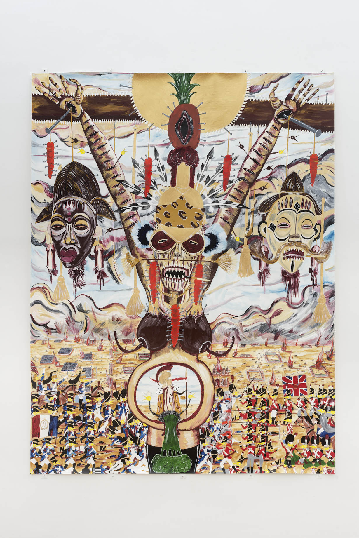 Andrew Gilbert, 'The Death of Shaka Napoleon and Birth of the Holy Brocoli, 1815', 2014, acrylic, watercolor and fineliner on paper, 200 x 150 cm, Photo by Leonie Felle