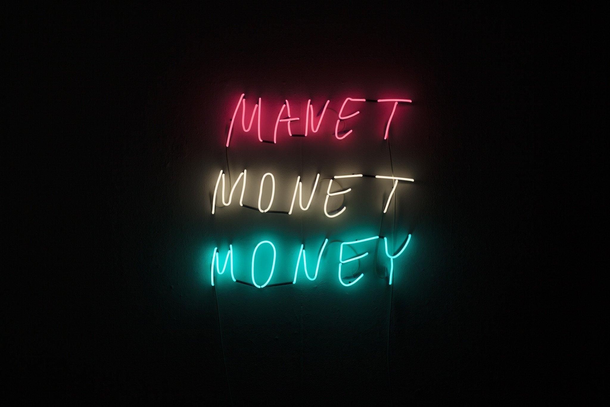 ART N MORE, Manet Monet Money, 2014, neon sign, 98 cm x 90 cm
