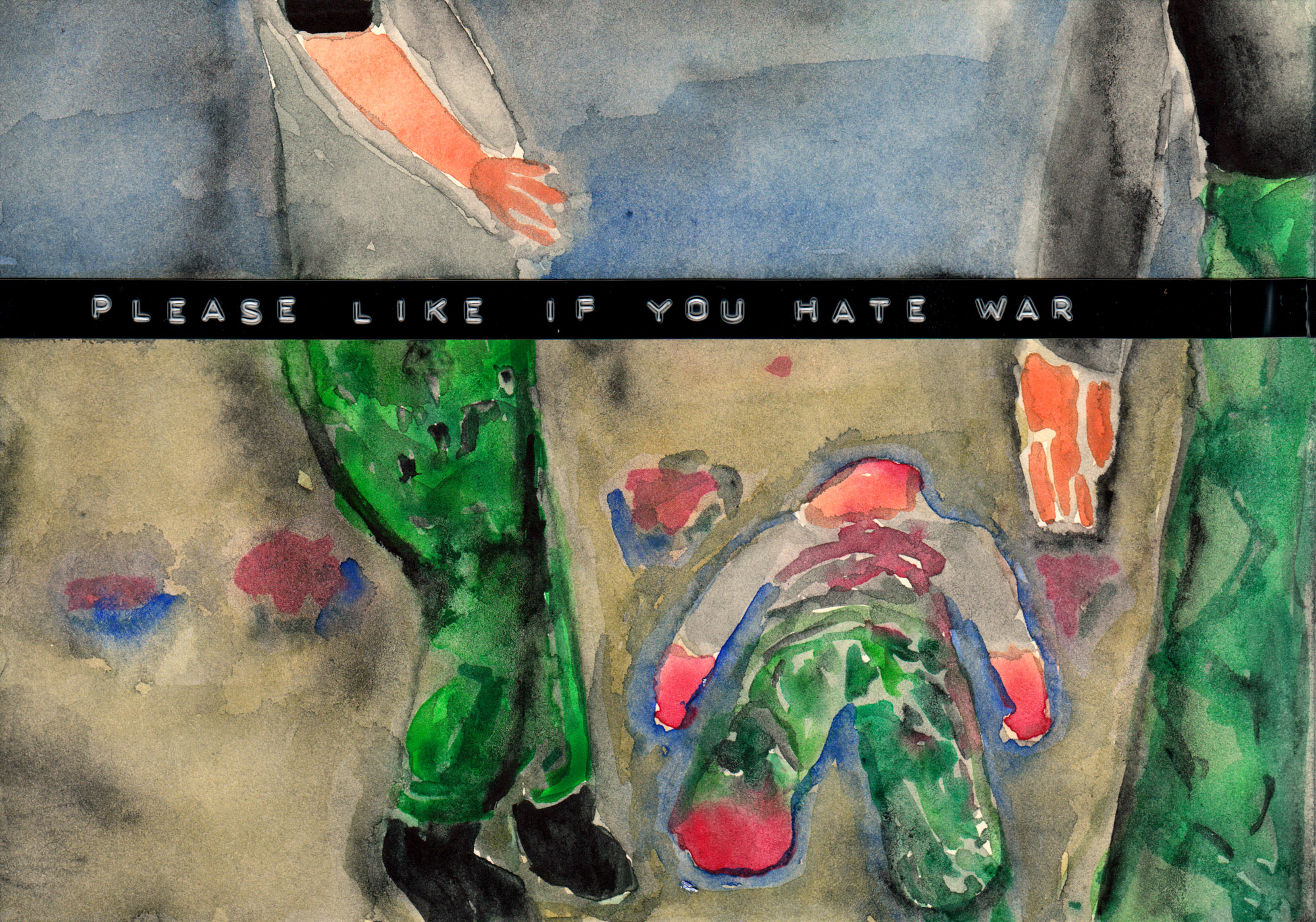 Sebastian Jung, Please like if you hate war, 2016, watercolor and labelmaker tape on paper, 14,8 x 21 cm