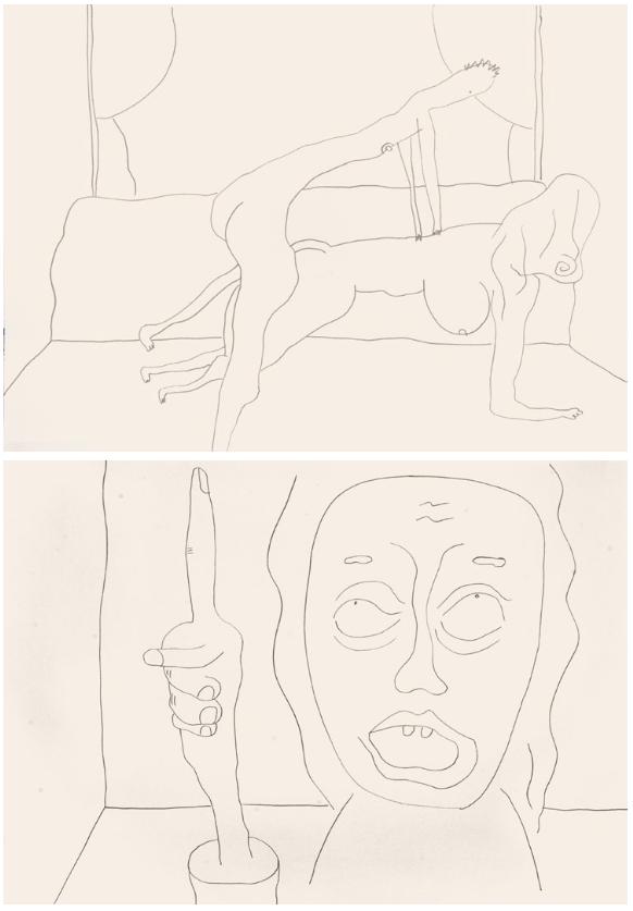 Sebastian Jung, untitled (Chatroulette), 2016, pencil on paper, two parts, 50cm x 70cm each