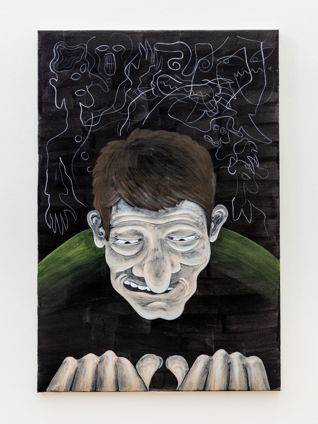 Stefan Fuchs, Part time painter, 2017, Acrylic and watercolor pencil on canvas, 90 x 60 cm