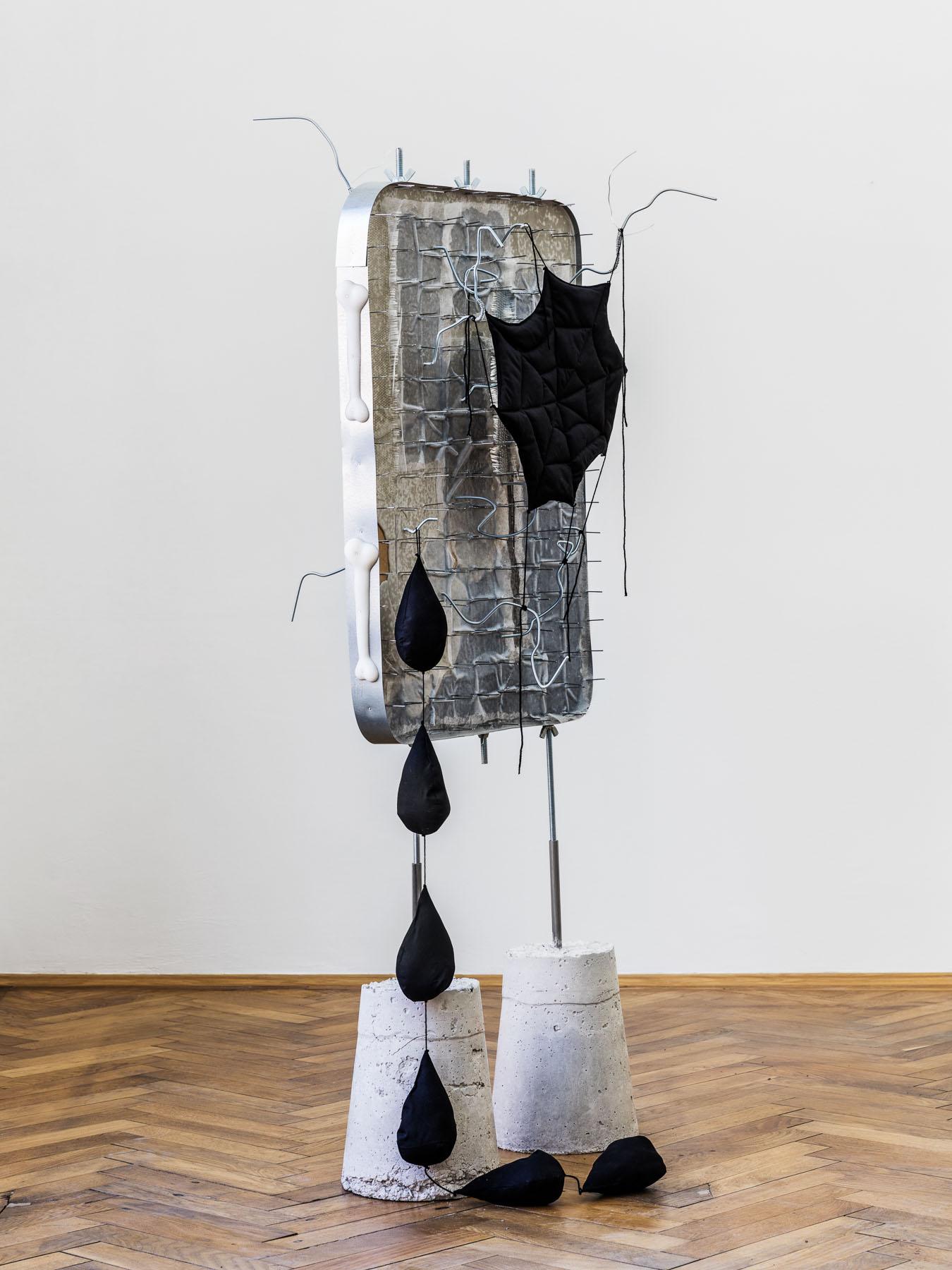 Stefan Fuchs, Abandoned space. Wifi stays, 2017, Mixed media, 171 x 73 x 62 cm