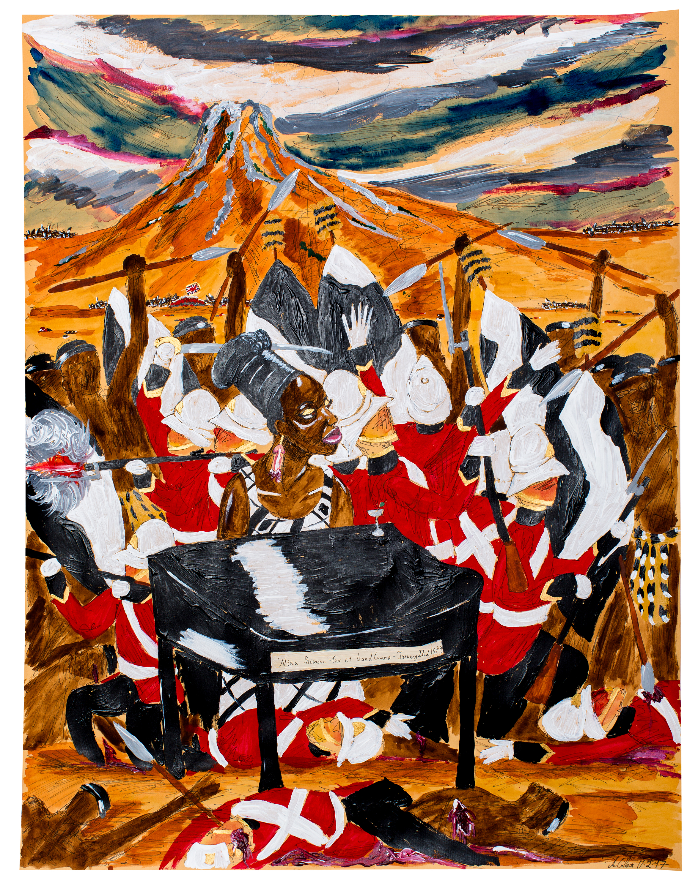 Andrew Gilbert, Nina Simone - live at Isandlwana, January, 22 1879, 2017, fineliner, watercolours and acrylic on paper, 64 x 50 cm
