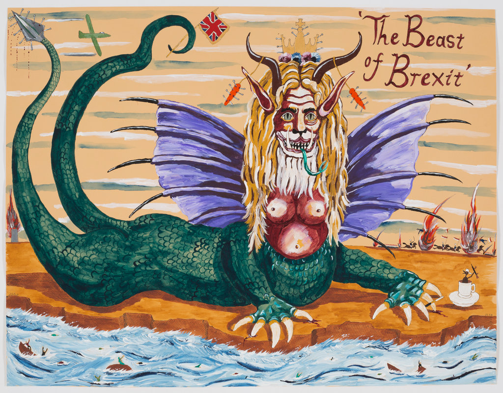 Andrew Gilbert: 'The Beast of Brexit', 2018, acrylic, watercolours and fineliner on paper, 50 x 64 cm
