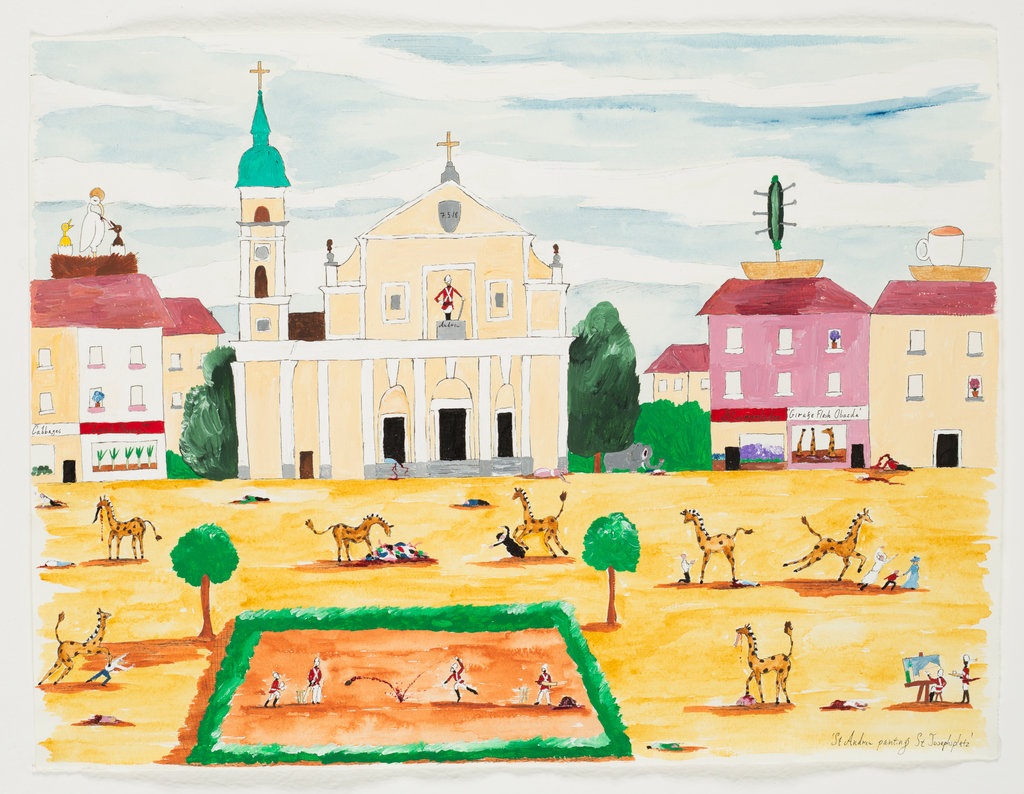 Andrew Gilbert: 'St. Andrew painting St. Josephsplatz', 2018, acrylic, watercolours and fineliner on paper, 30 x 40 cm