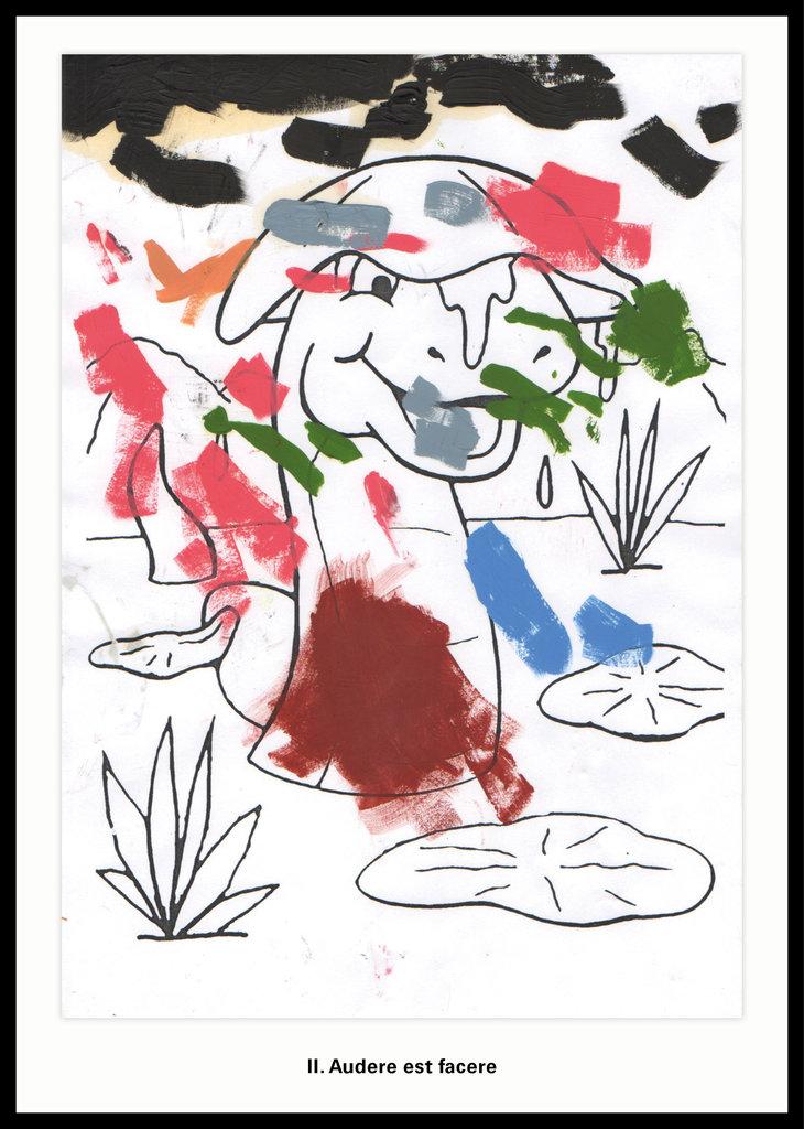 ART N MORE, II. Audere est facere (Es zu wagen, ist es zu tun), 2018, mixed media on paper, 35 x 25,2 cm