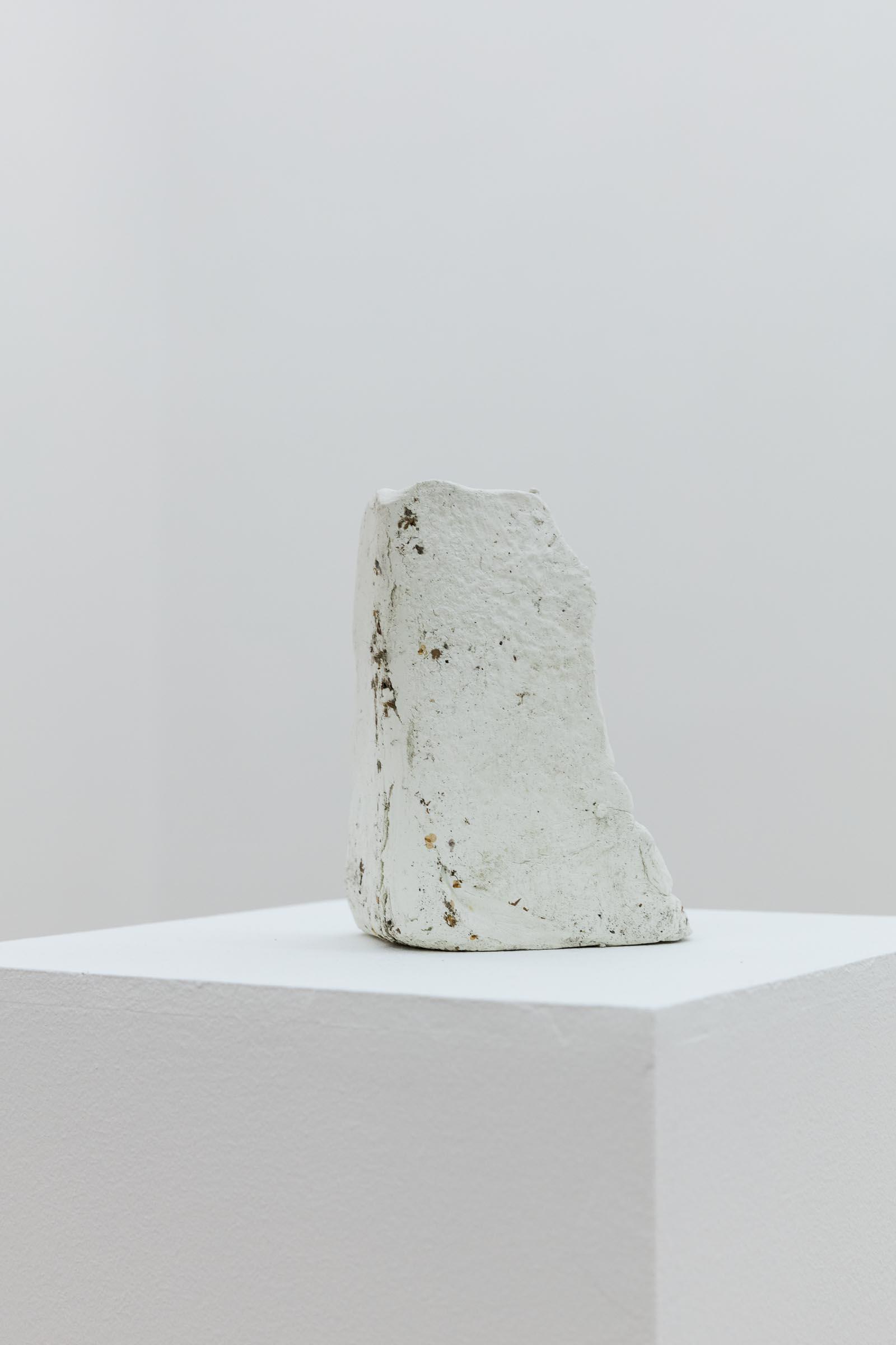 Detail: Thomas Geiger, Corners for Relief, 2019, Sculpting Clay, Filth, Plinth, Set of 5, Sculpture: 16 x 12 x 11 cm, Plinth: 105 x 27 x 27 cm