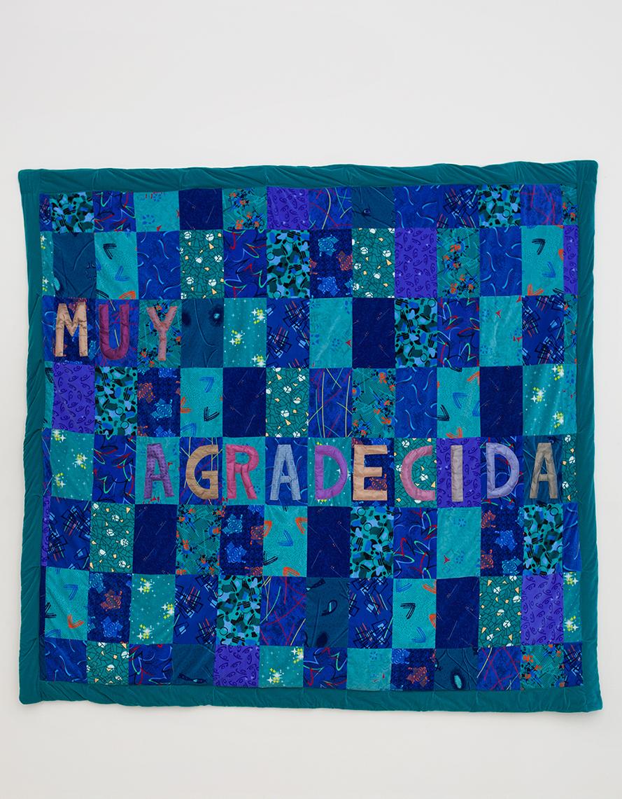 Ana Navas; Muy Agradecida, 2018; fabric, bus seat upholstery; 272 x 295 cm
