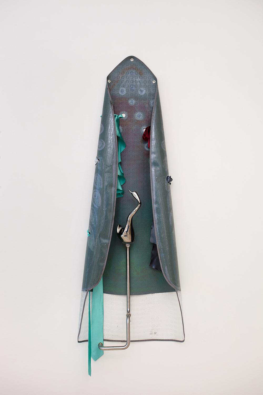 Ana Navas; Iron, 2018; pvc, acrylic, metal, textile, ceramic; 195 x 62 cm