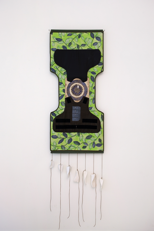 Ana Navas; United, 2018; mat, plaster, textile, paper, metal; 193 x 65 cm