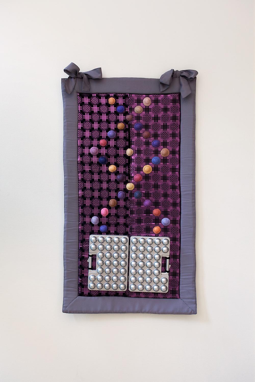 Ana Navas; Nuez de Adam, 2018; fabric, silicone, plastic, silver; 147 x 82 cm