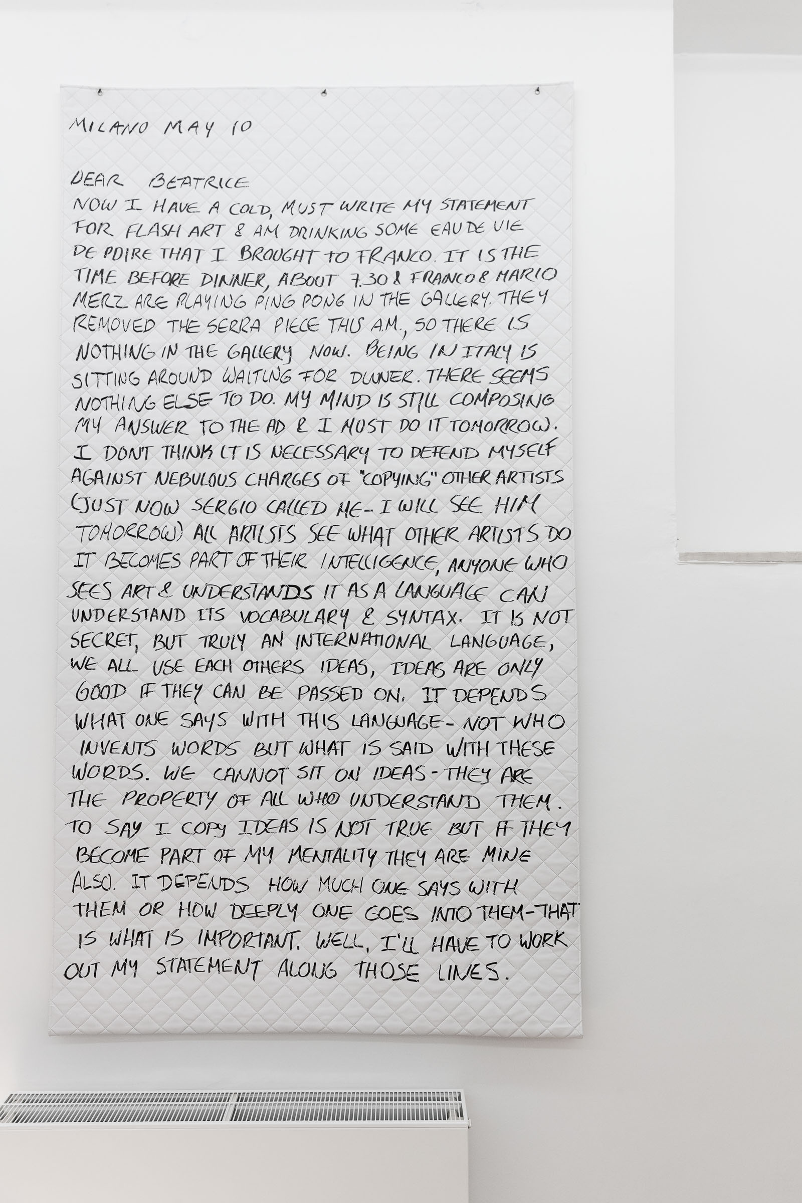 Ana Navas; Sol Lewitt letter, 2016; permanent marker on fake leather, 294 x 140 cm