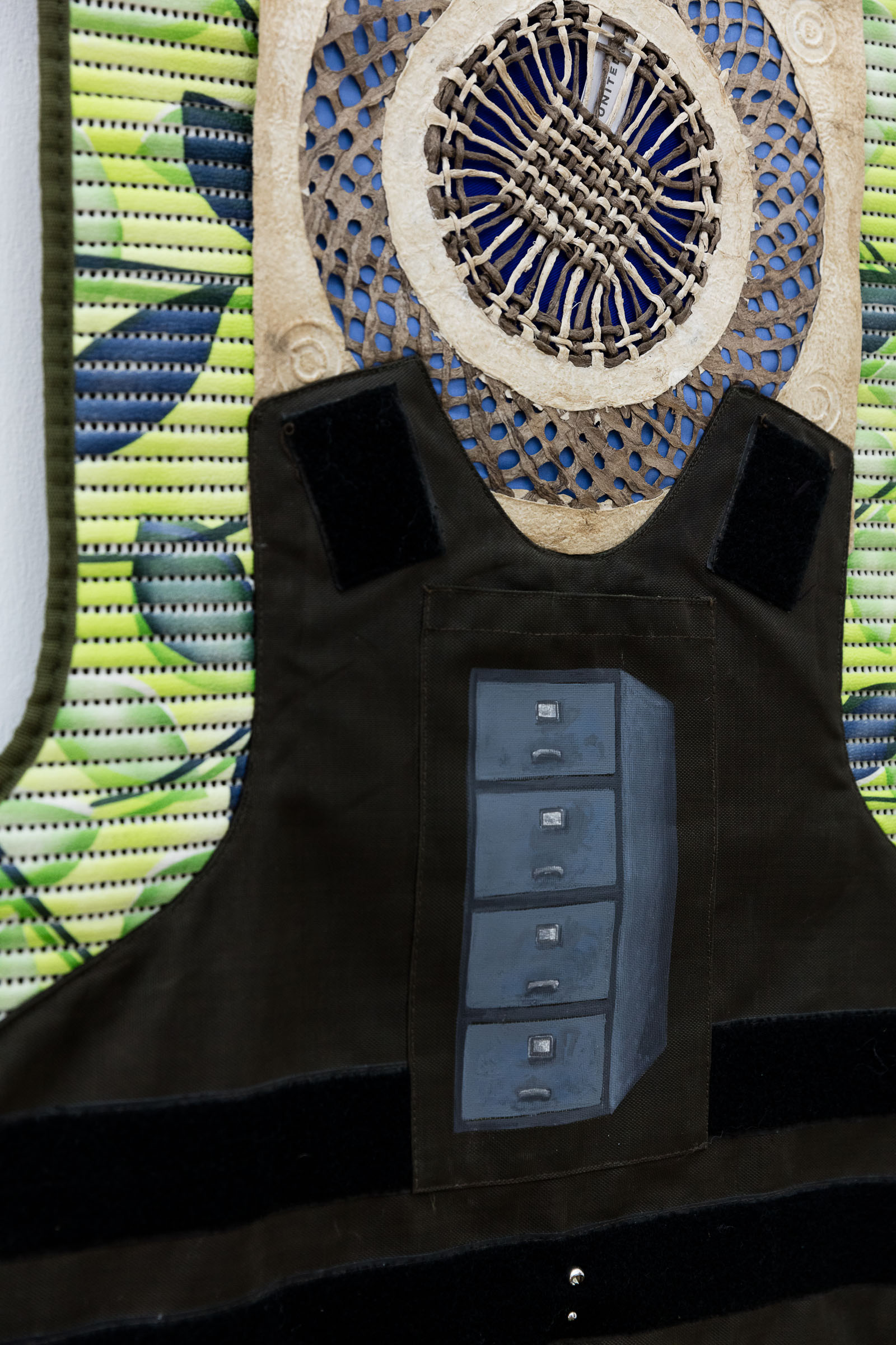 Ana Navas; United (detail), 2018; mat, plaster, textile, paper, metal; 193 x 65 cm