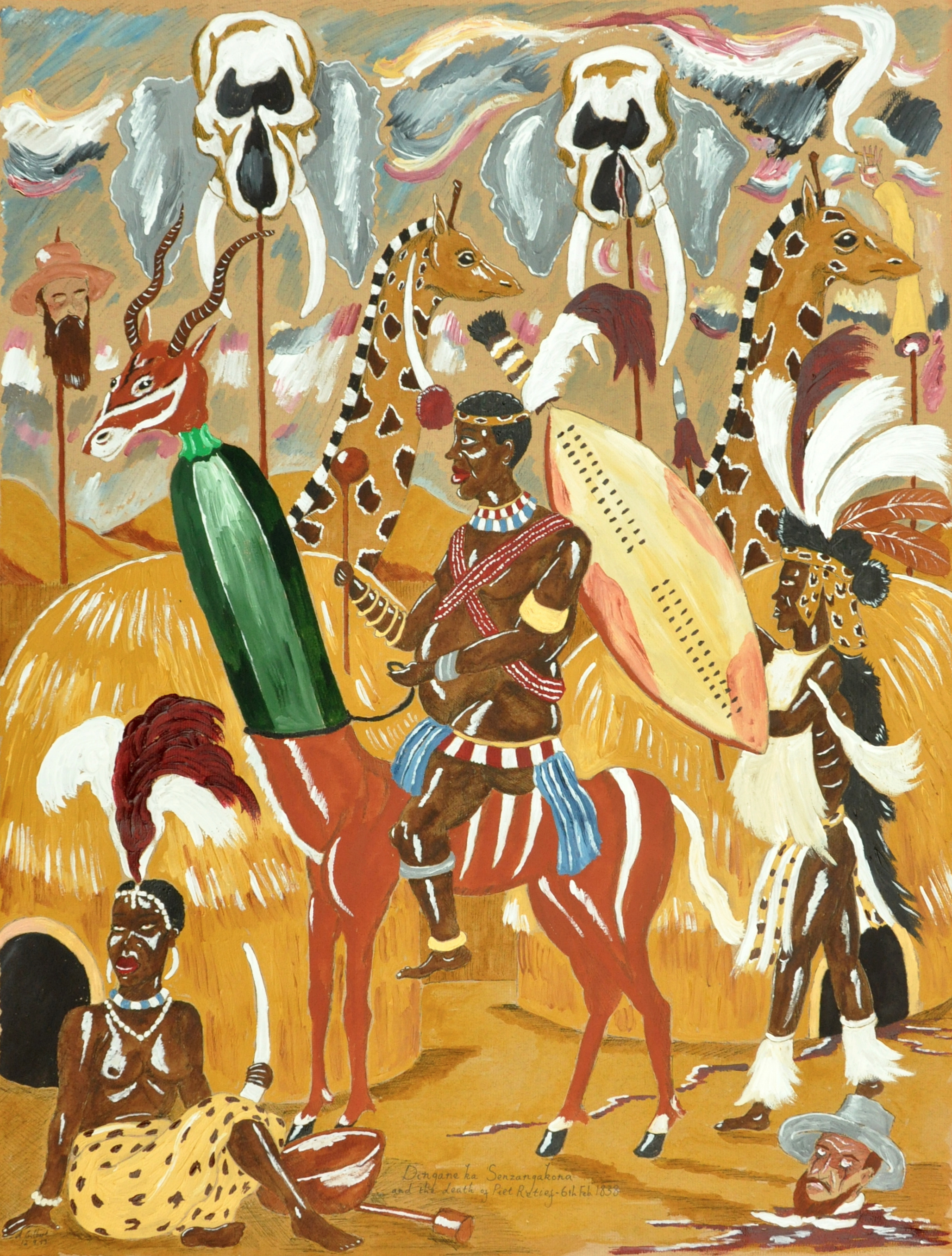 Andrew Gilbert, King Dingane kaSenzagakhona Zulu with head of Piet Retief, 1838, 2013, acrylic, water colour and fineliner on paper, 62 x 48 cm