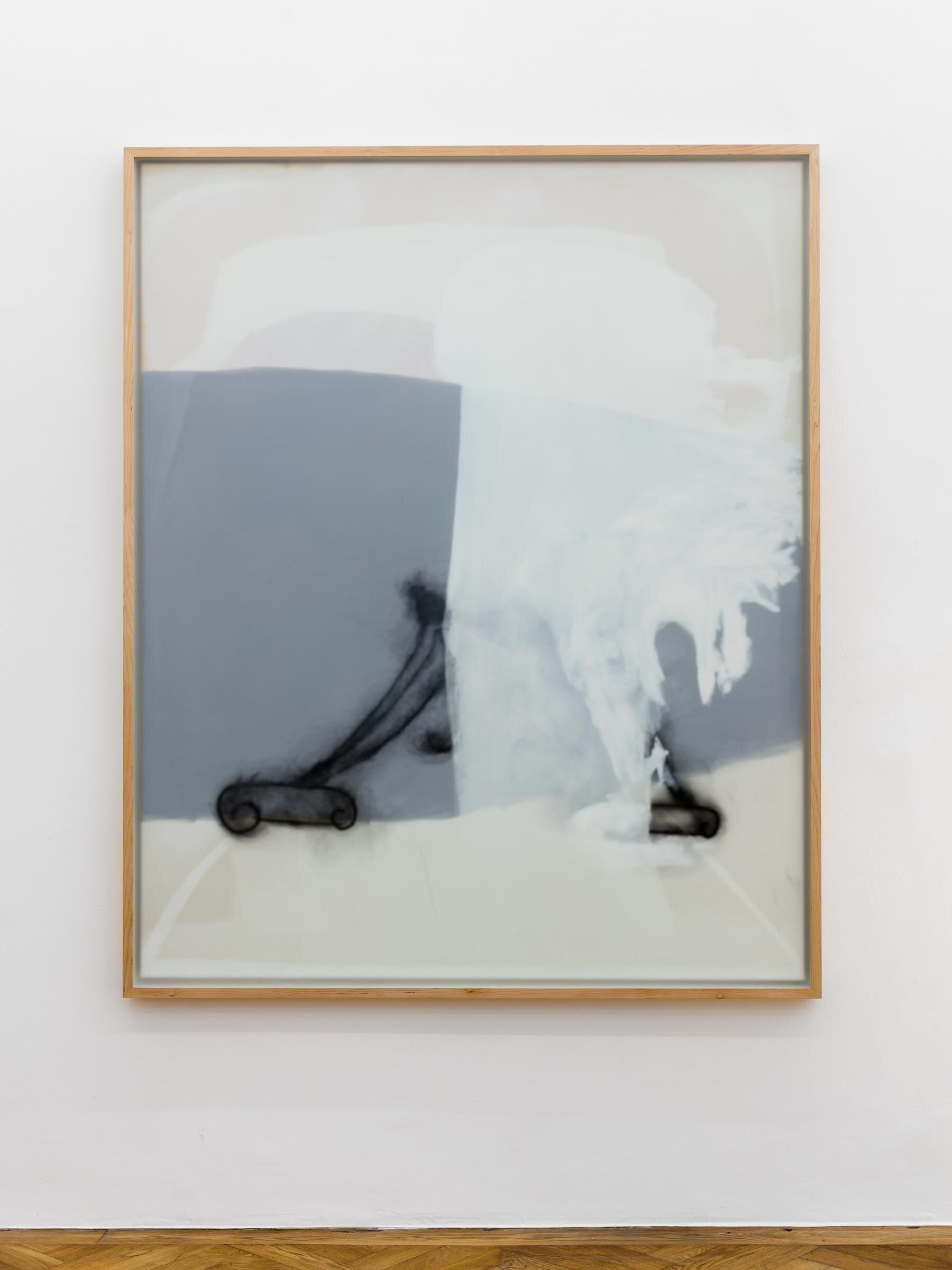 Malte Zenses, Orgelblut, 2019, oil and pencil on canvas, opal glass and maple wood, 136 x 166 cm
