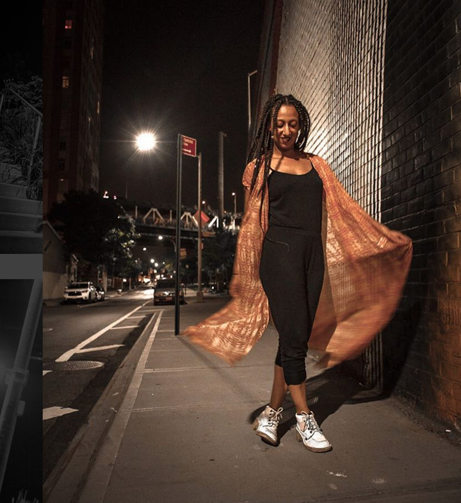 Amina in NYC rocking a long Yemzi kimono