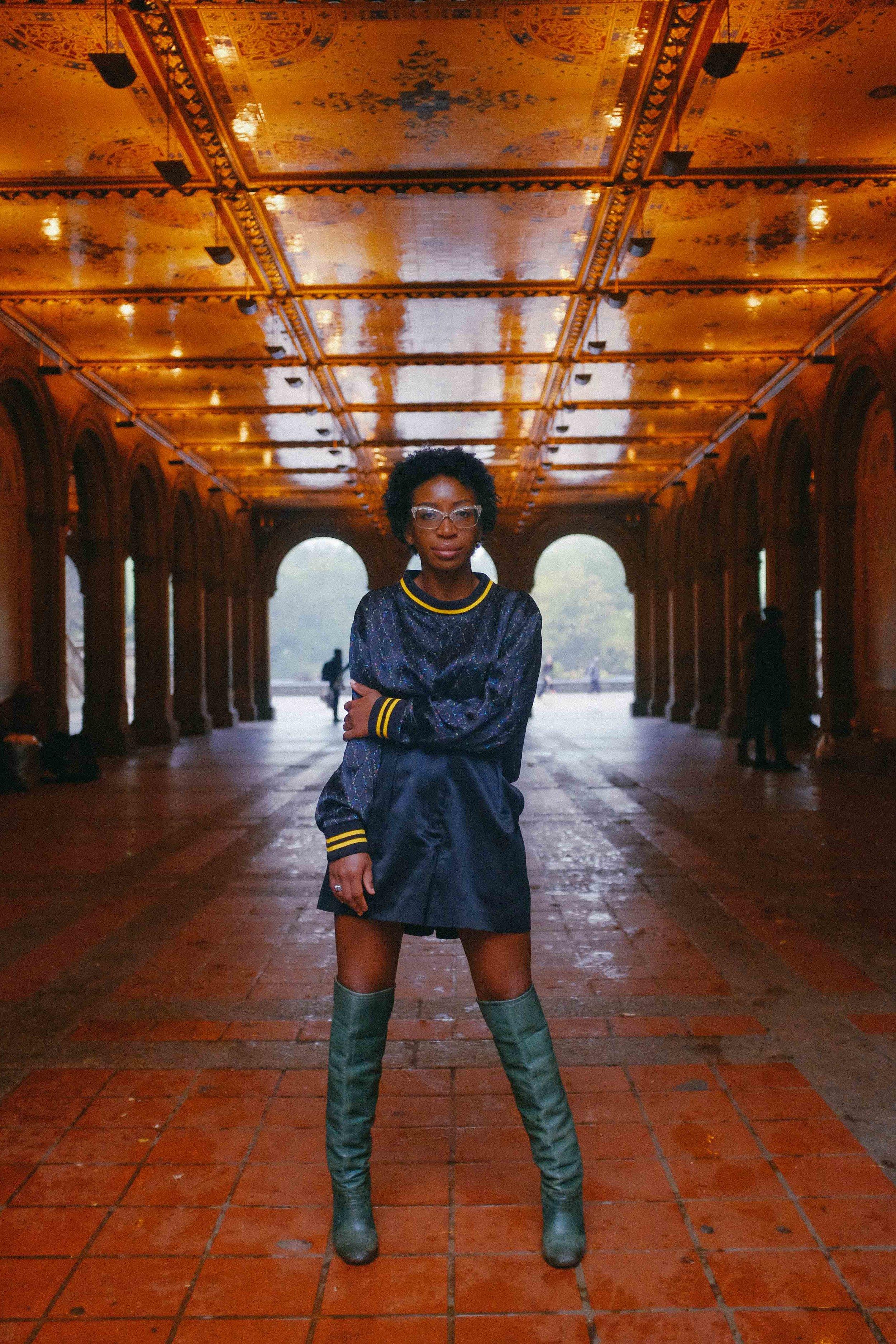 Bianca Brown wearing Yemzi SS17 cropped sports trim silk jumper