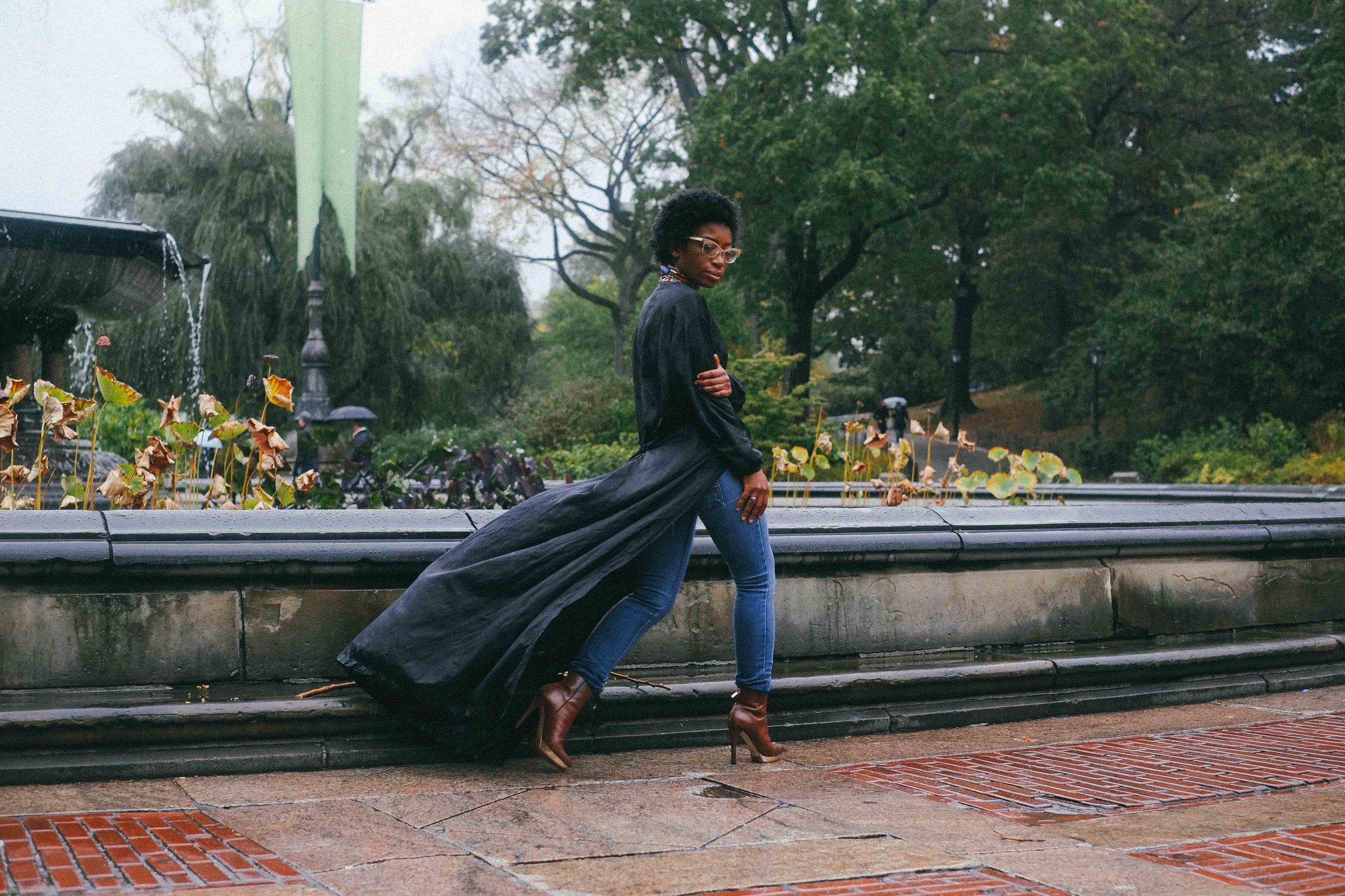 Bianca Brown wearing Yemzi SS17 silk shirtdress