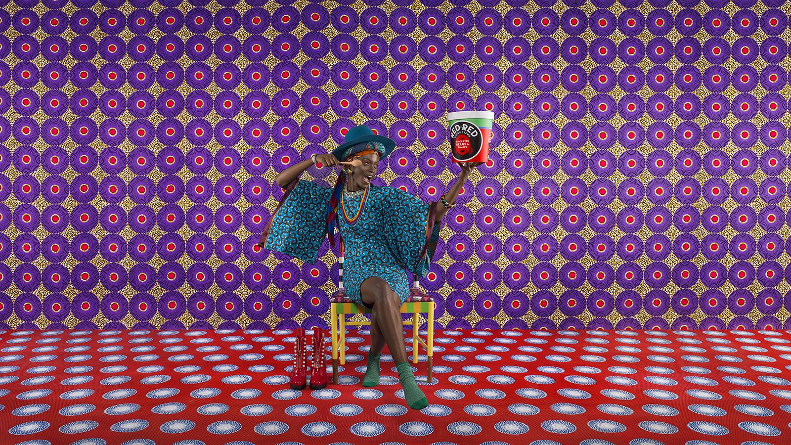 RedRed campaign, Photography: Patrice De Villiers, Styling: Samson Soboye, Model: Alisha Safo @liiissha, Chair: Yinka Ilori