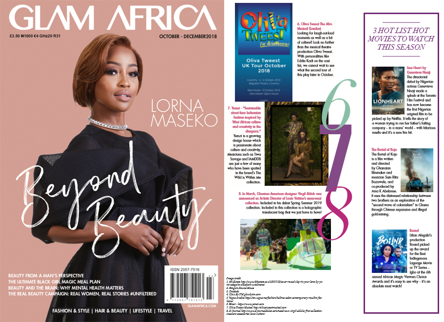 Yemzi Collection 2 'The Wild Is Within Me' featured in Glam Africa Mag's Top 10 Obsessed List (Beyond Beauty Issue Oct - Dec 2018)