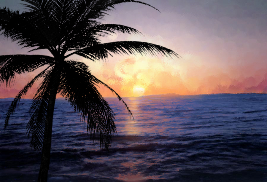 Ocean Sunset with Palm