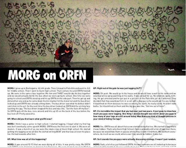 A personal home town hero, MORG grew up with ORFN and started tagging with him in Palo Alto. We interviewed MORG on his brief graffiti career and his time with ORFN in the newest issue of Kill Pretty! Get it today!  #MORG #ORFN #GRAFFITIHISTORY