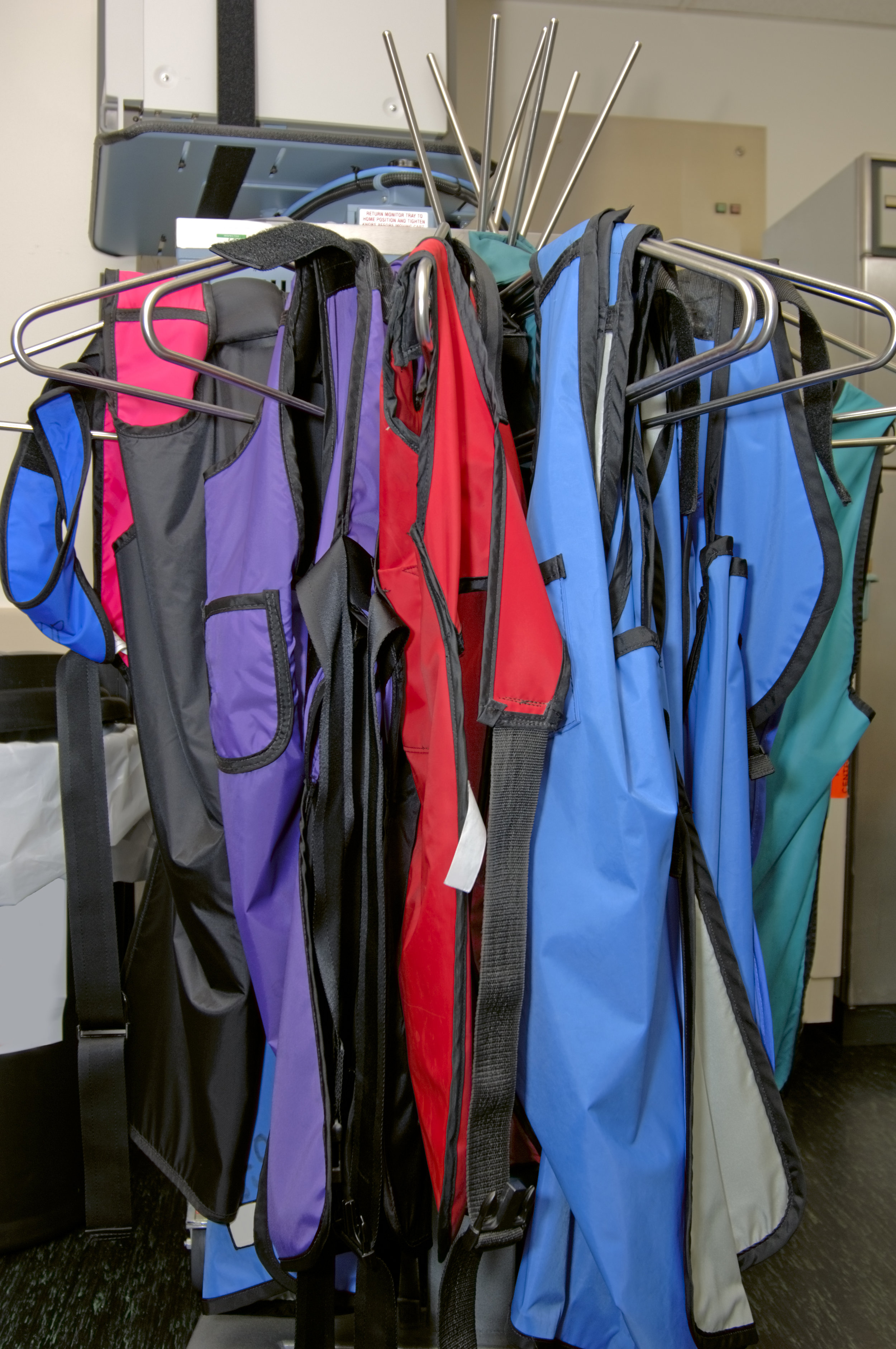 Lead aprons hung in a hospital