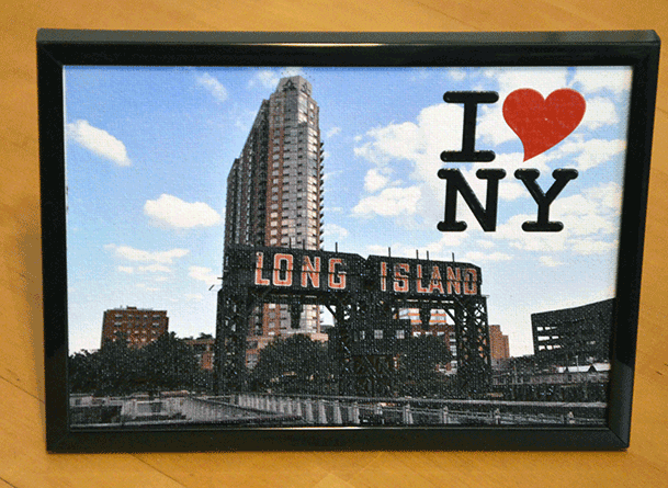 Long Island City Pier - Canvas 5X7 inch, framed, 3D text I Love NY  - Order     here