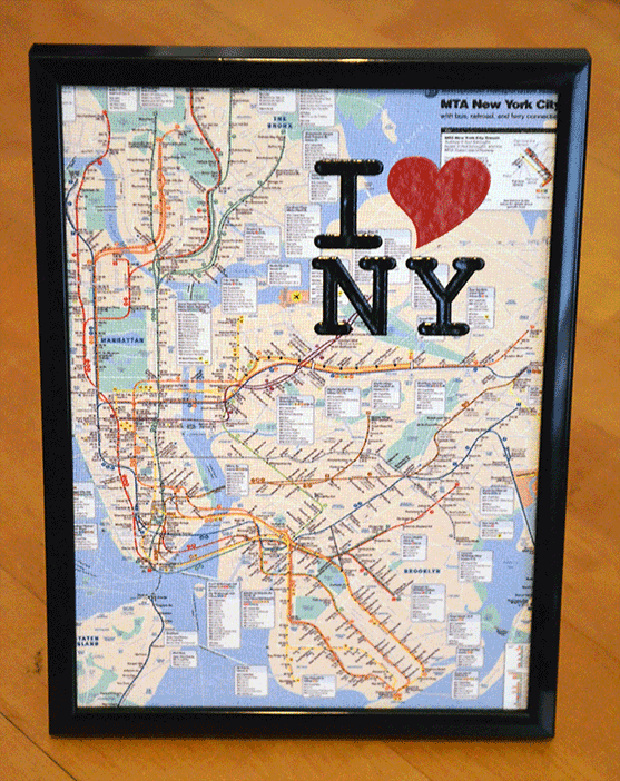 NYC Map - Canvas 5X7 inch, framed, 3D text I Love NY - Order     here