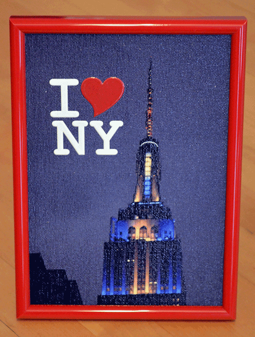 Empire State Building - Canvas 5X7 inch, framed, 3D text I Love NY - Order  here