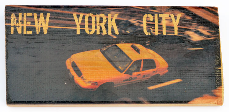 Yellow cab in New York City printed on a Woodbrick (5.50 X 12 Inch)   BUY