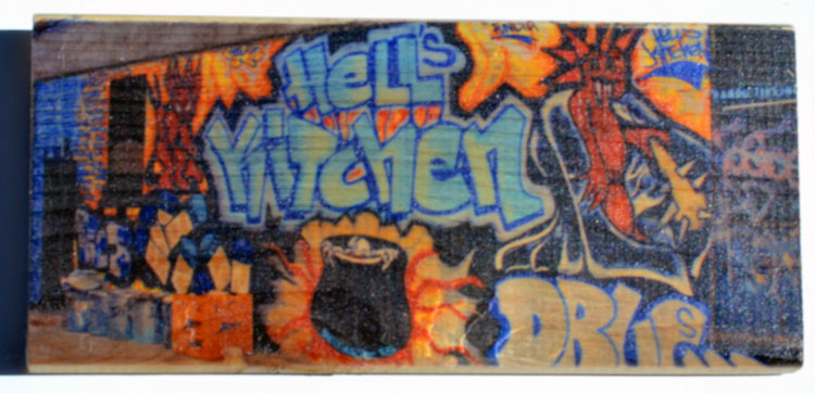 Street art in Hell's Kitchen in New York City printed on a Woodbrick (5.50 X 12 Inch)   BUY