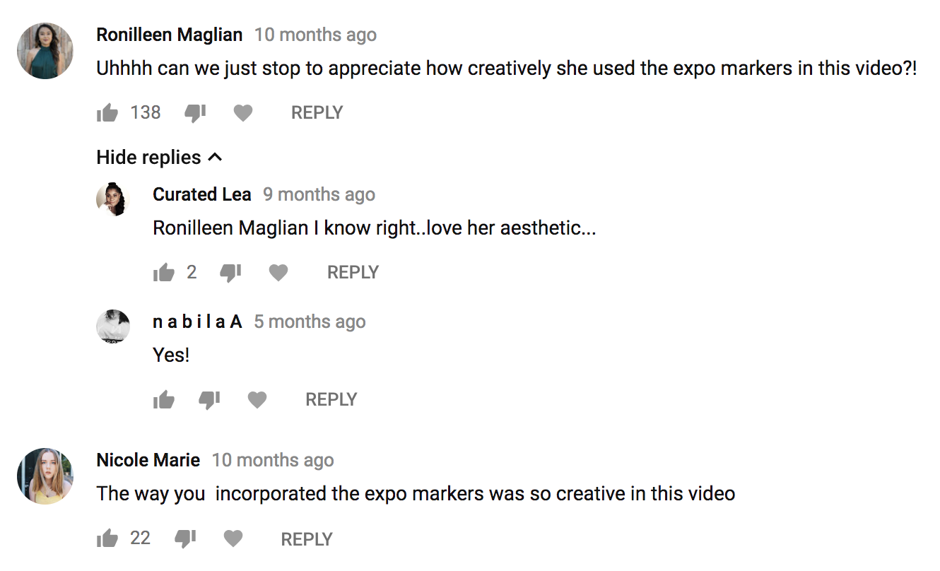 """""""Uhhhh can we just stop to appreciate how creatively she used the expo markers in this video?!"""" -"""
