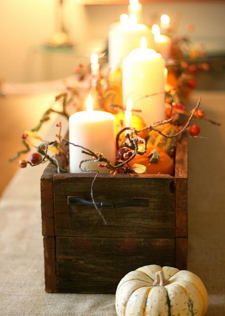 Burlap Runner, Wooden Box, Candles, Mini Pumpkins (beehiveevents.com)
