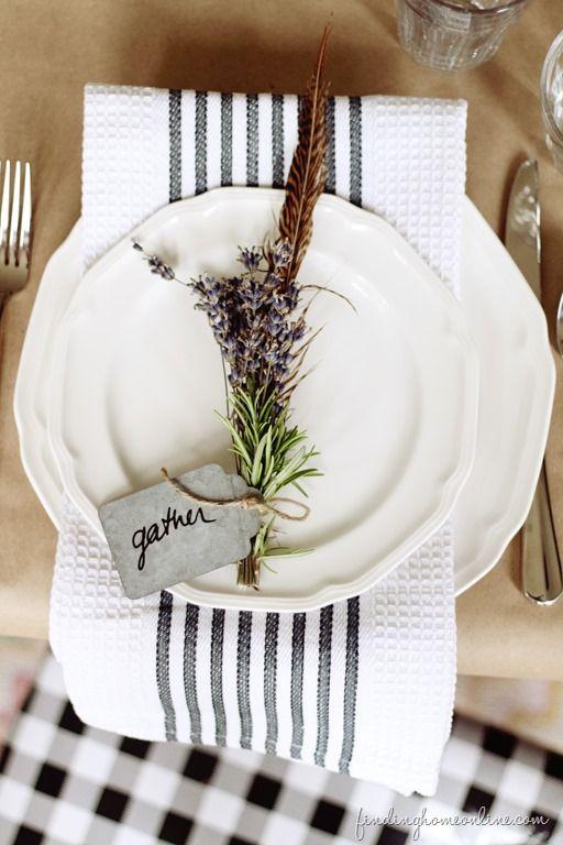 Butcher Paper, White China, Kitchen Towel, Herbs, Twine (findinghomeonline.com)