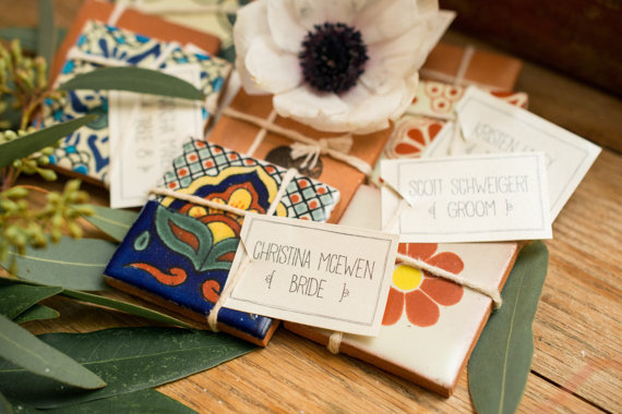 Spanish Tile     - These decorative Spanish Ceramic Talavera Tiles make for gorgeous seating cards and even better wedding gifts! They can be customized to include any color or pattern and truly stand out as a favor your guests will love!