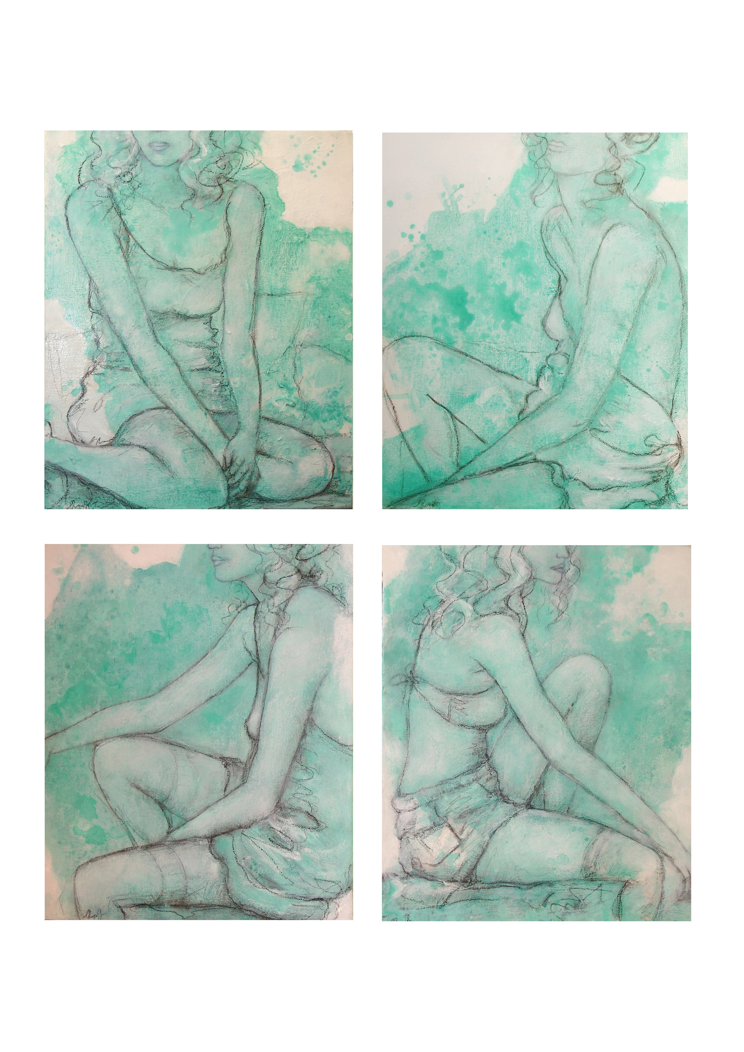 Damsels in Undress, 28 x 34cm