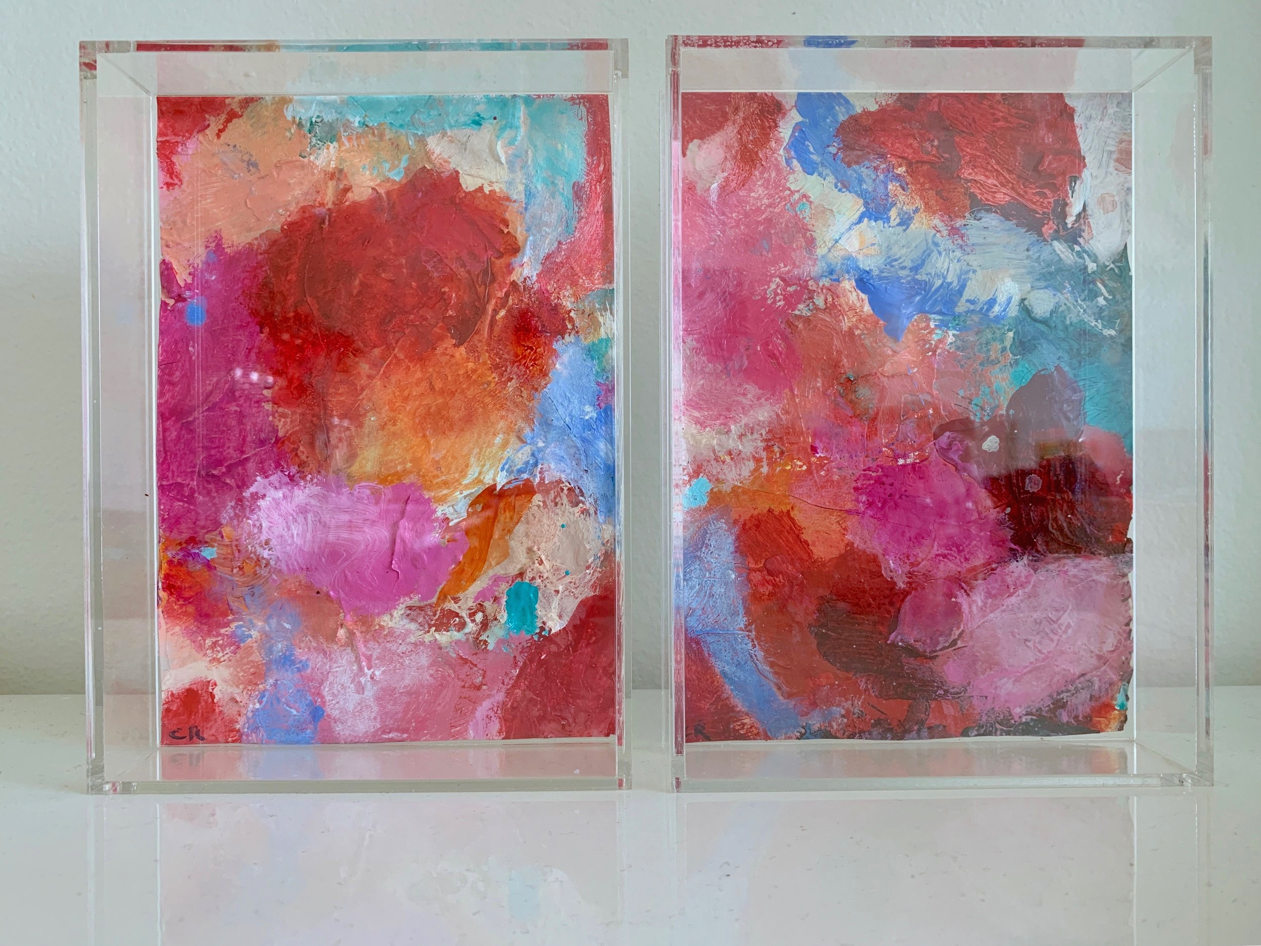 Pink & Blue Abstracts in Perspex